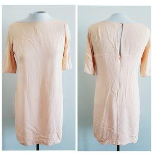 BABATON 100% silk peach shift dress